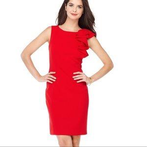 Cakvin Klein Ruffle Shoulder Sheath Red Dress
